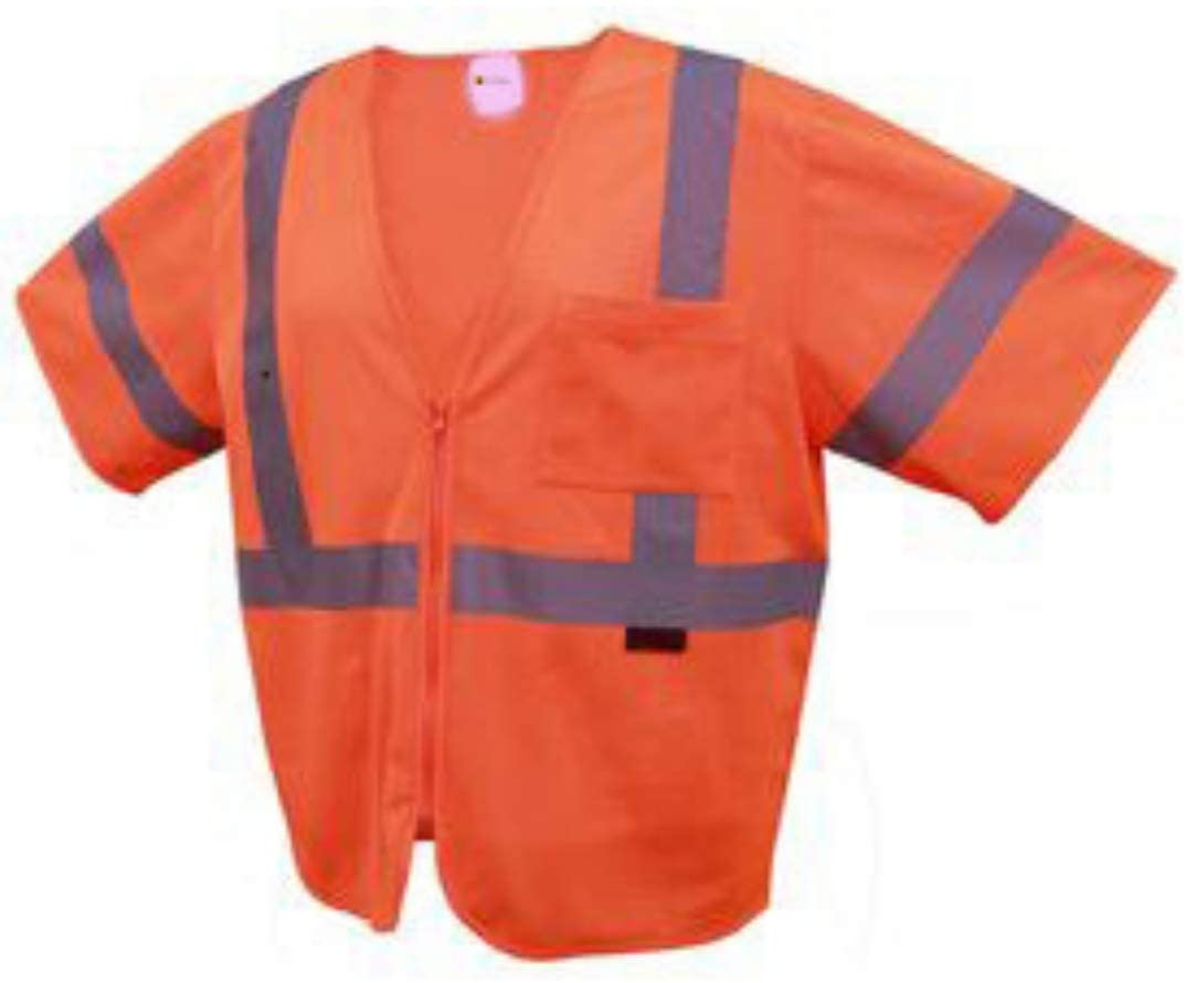 Brite Safety Standard Class 3 Mesh Zipper Safety Vest - Work Wear - High Visibility (Extra Large, Orange)