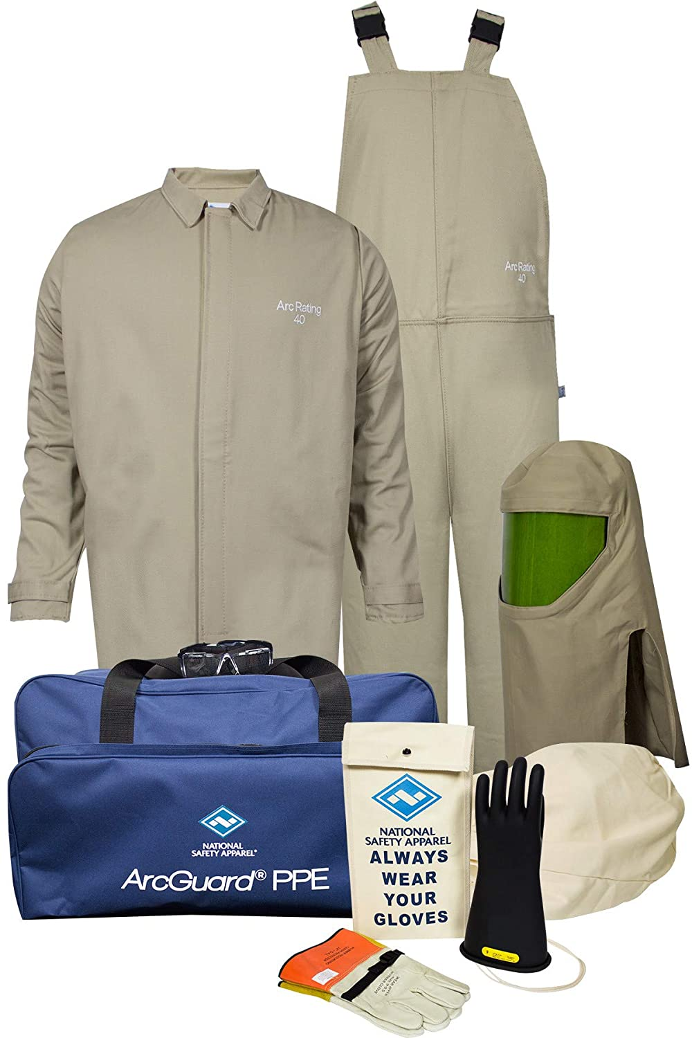 National Safety Apparel KIT4SC40EC3X11 ArcGuard Contractor CAT 4 Arc Flash Kit with FR Short Coat and Bib Overall, 40 Calorie, 3X-Large/Glove Size 11, Khaki
