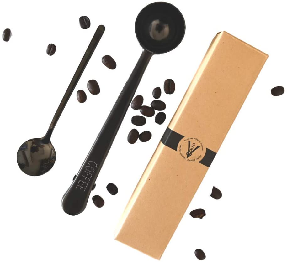Coffee Scoop Clip and Coffee Stirring Spoon Set (Black) 1 Tablespoon Made from Stainless Steel Coffee Accessories Coffee Stirrers Espresso Spoon Coffee Gifts by Vintage 928