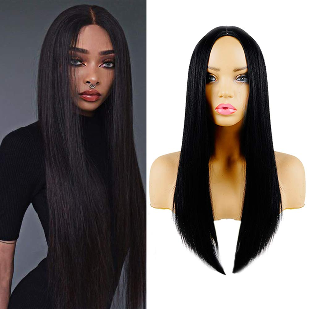 Long Black Wig 26 Inch Long Straight Middle Part Hairline Wigs Silk Synthetic Fiber Full Wig Synthetic Wig Cosplay Daily Party Halloween Christmas Wig Black Color Wig