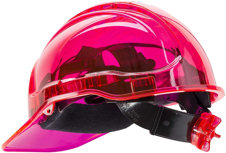 Brite Safety Peak View Vented Hard Hat Ratchet Adjustment - Safety Helmets Lightweight Polycarbonate Shell Hard Hats 6 Point Textile Harness (Pink)
