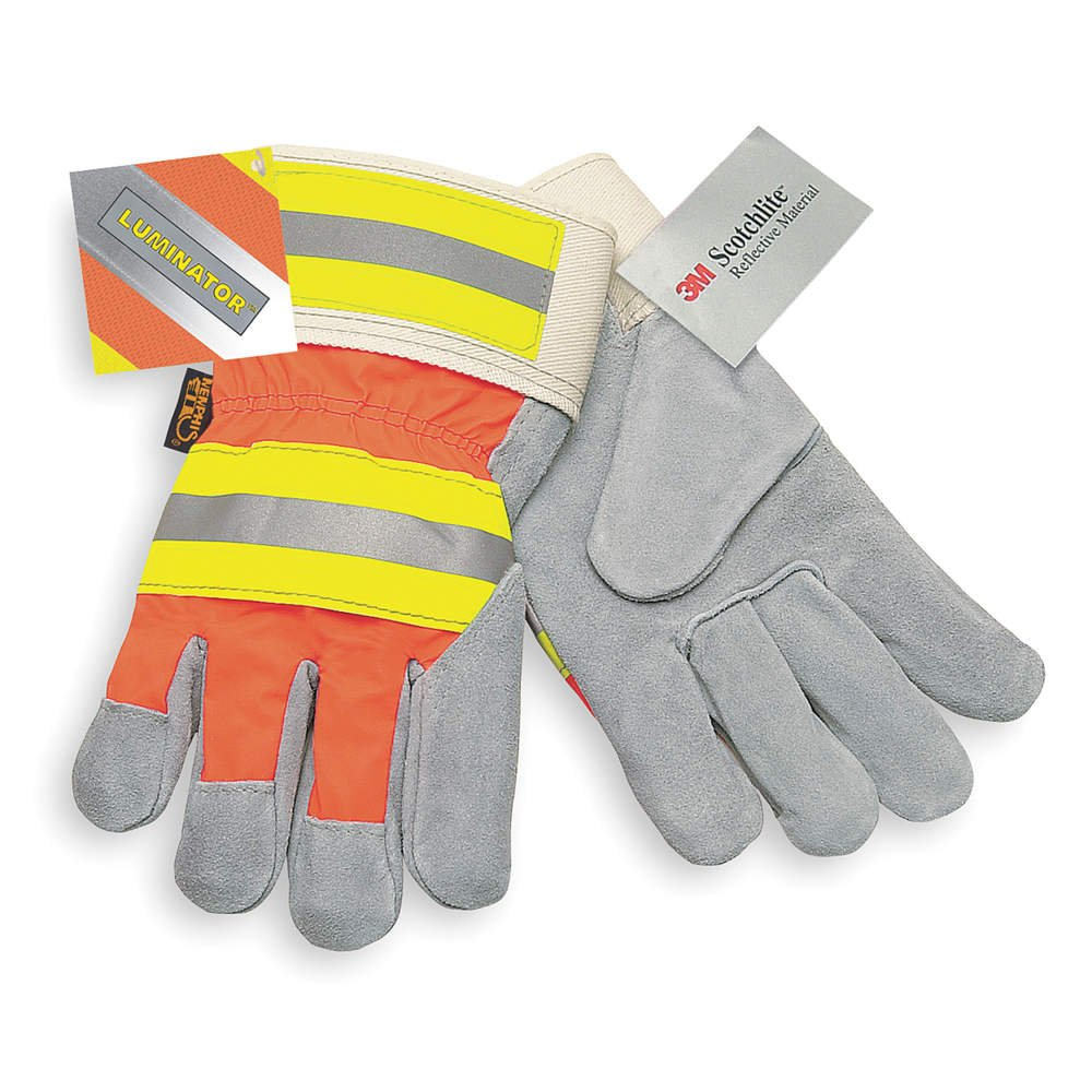 Leather Palm Gloves, L, Gray, PR