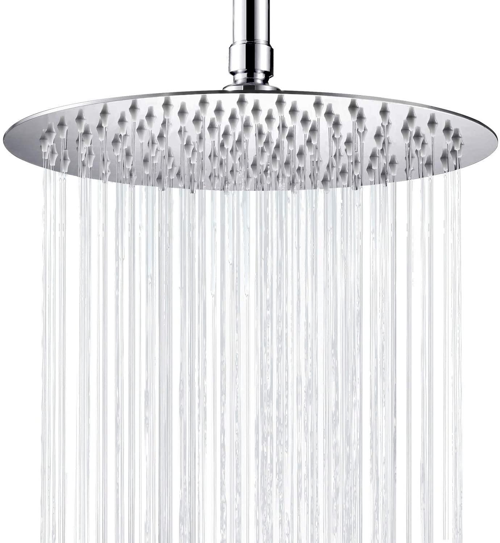Cobbe Large Rainfall Shower Head 10 Inch Round Bathroom High Pressure Shower Head Stainless Steel Ultra-Thin Rain Showerhead, Chrome