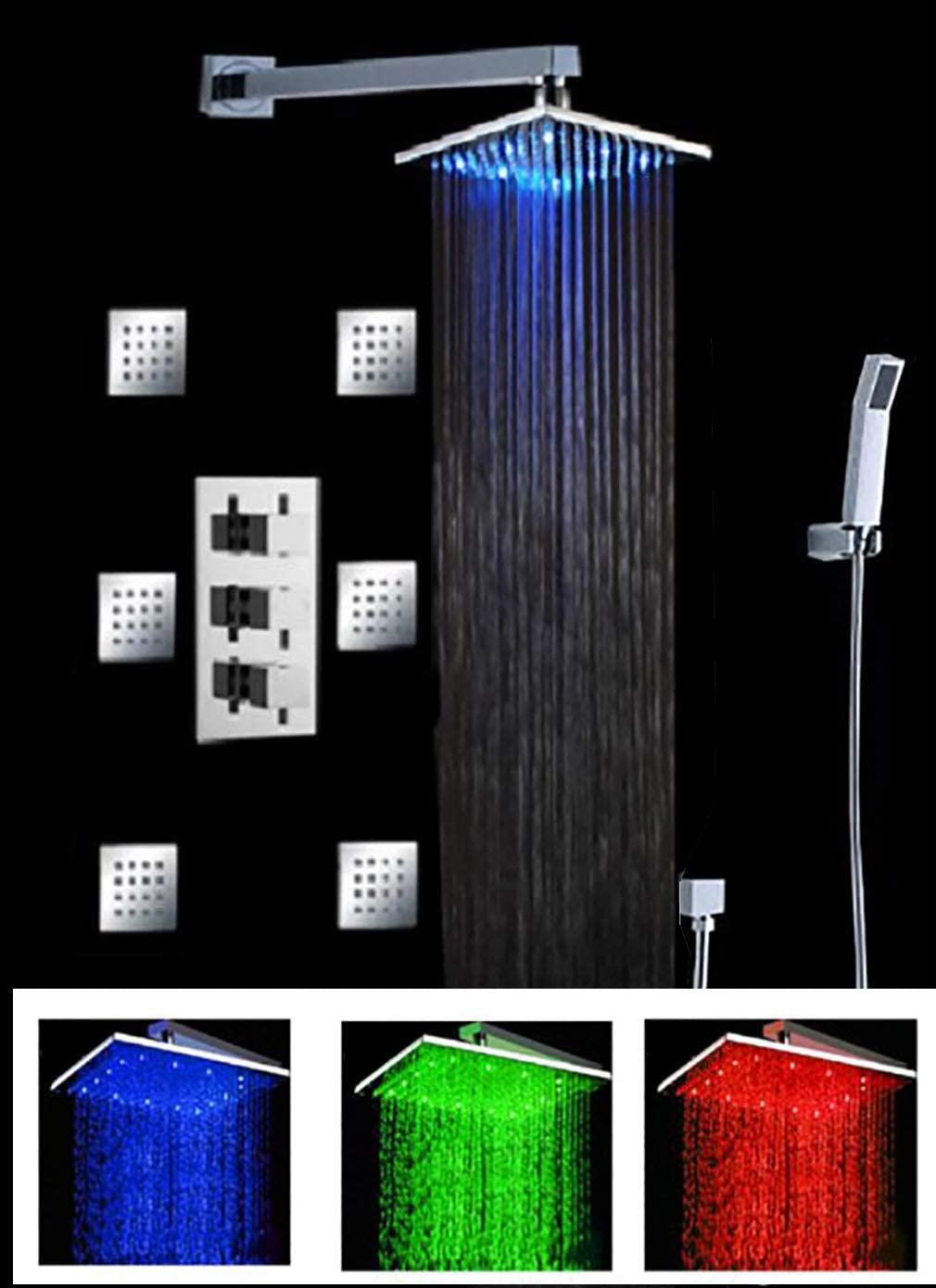 Cascada Luxury Bathroom Shower Set with Luxury Water Power LED Shower Head (Wall Mount) Rainfall Thermostatic 6 Massage Jets Spray Body Shower Set (10