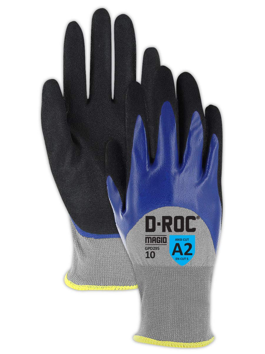 Lightweight Cut Resistant Double Dipped Sandy Nitrile Coated Work Gloves   Nitrile Coated HPPE Safety Gloves for Appliance and Automotive Manufacturing (GPD295-11) - Blue/Black/Gray, Size 11 (3 Pair)