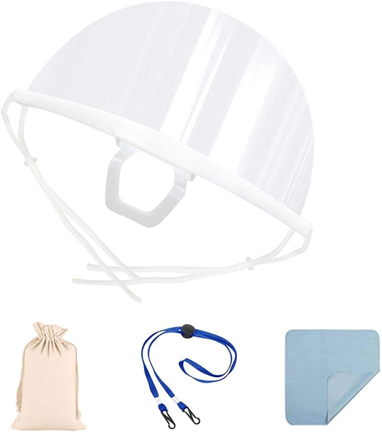 【USA in Stock】Disposable Facemask Set Kitchen Oil Splat Protect Safe Glasses Guard All-Round Protection Mini Guard with Clear Anti-Fog Lens Lightweight Transparent Shield to Protect Face (1 x White)