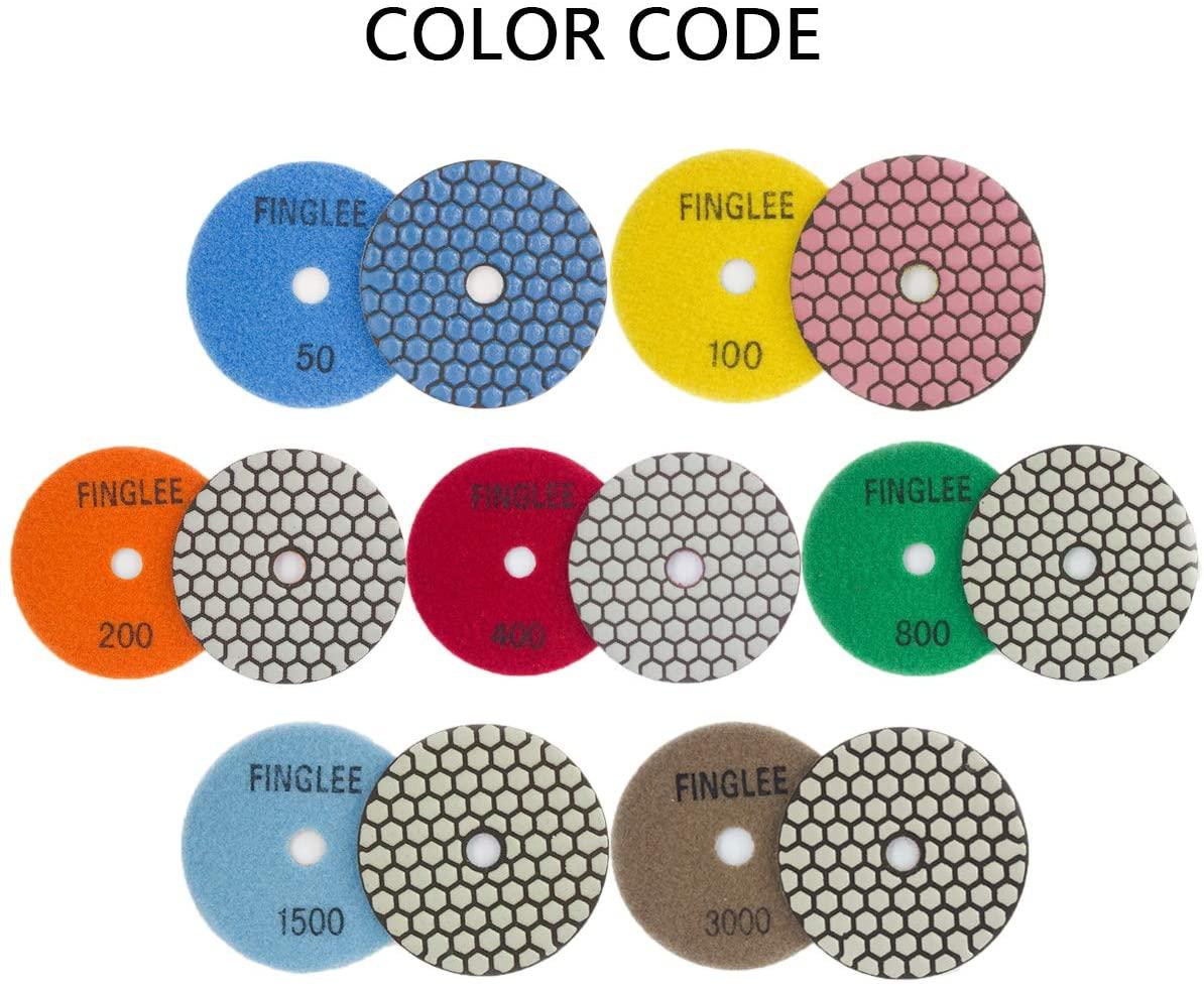 7Pcs 4inch Diamond Dry Polishing Pads For Grinding Marble Granite Stone, Grit 50#, 100#, 200#, 400#, 800#, 1500#, 3000# (Black marker 4inch)