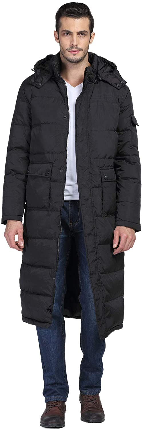 Chartou Mens Fashion Thickened Oversized Windproof Long Hooded Down Coat Jacket
