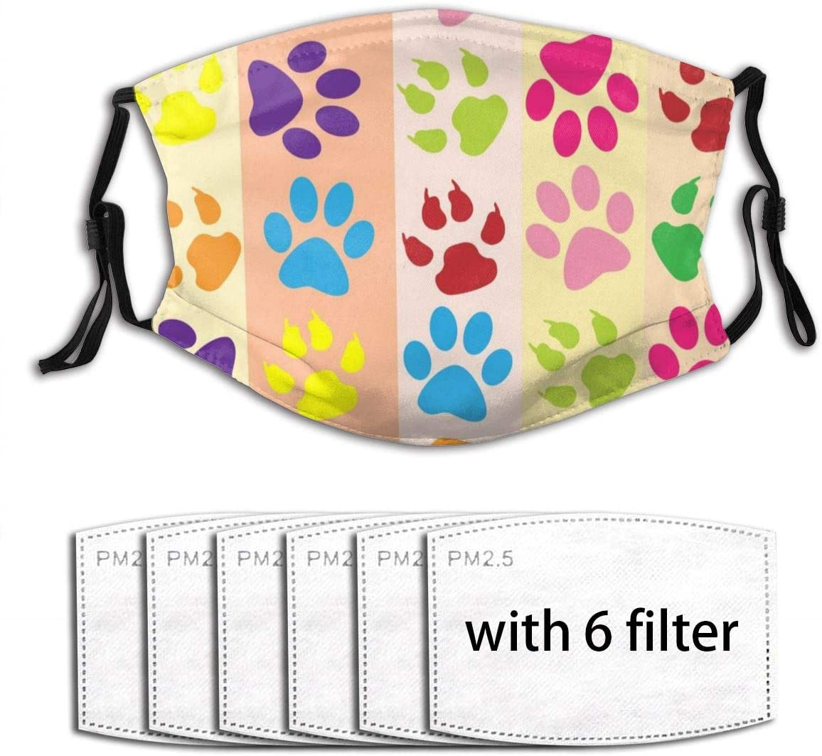 Colorful Dog Footprint Unisex Washable Reusable 2 Layers Outdoor Face Dustproof Tool(With 6 Filters)