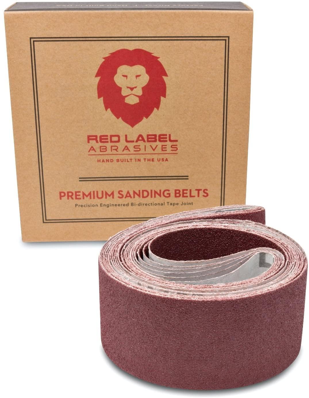 Red Label Abrasives 2 X 42 Inch 80 Grit Flexible Aluminum Oxide Multipurpose Sanding Belts, 6 Pack