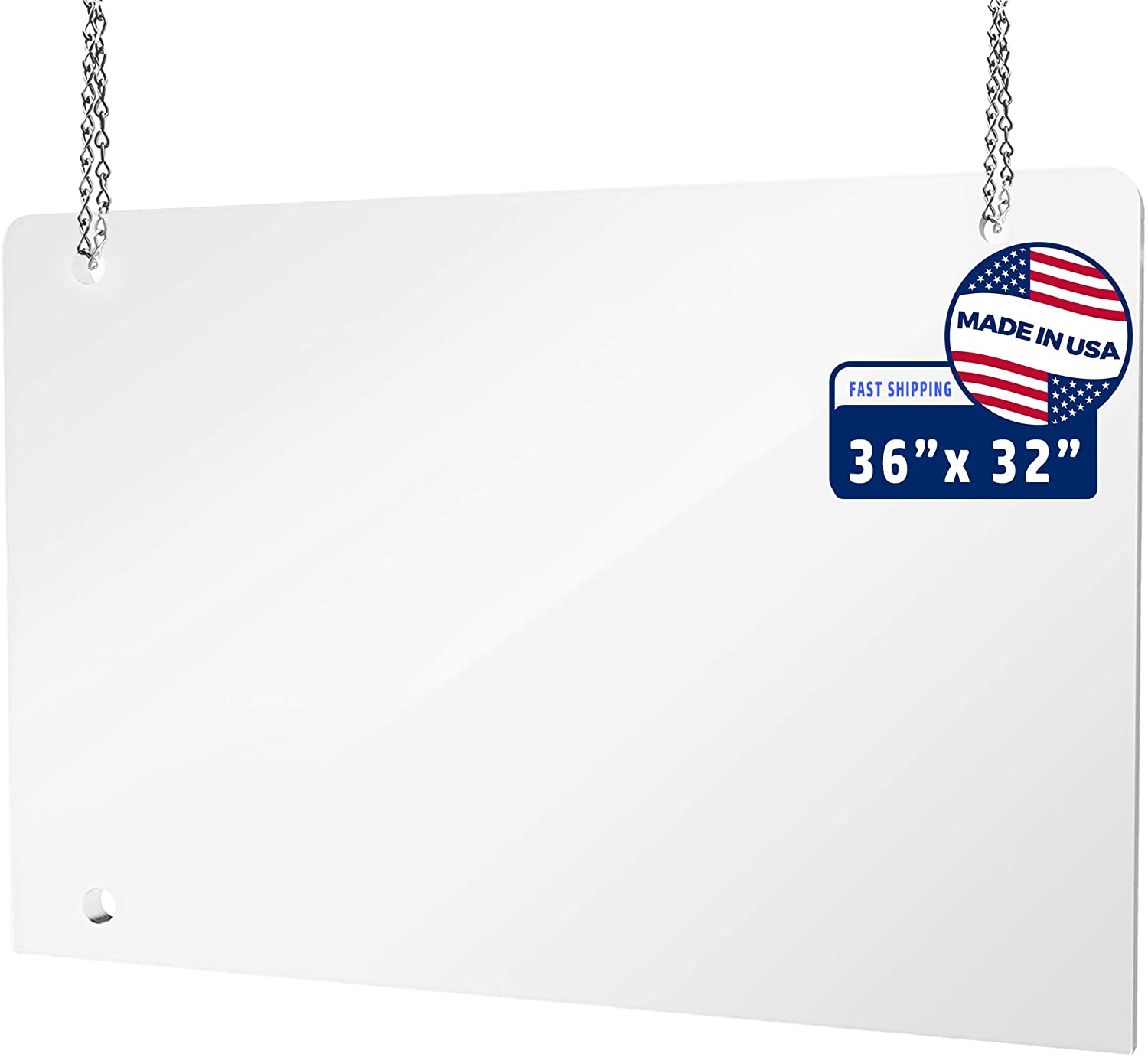 Hanging Protective Sneeze Guard Shield for Counter, Desk, Business and Customer Safety, Portable Plexiglass Barrier, Shield and Guard for Business, School. With Hanging Hardware. (36x32)
