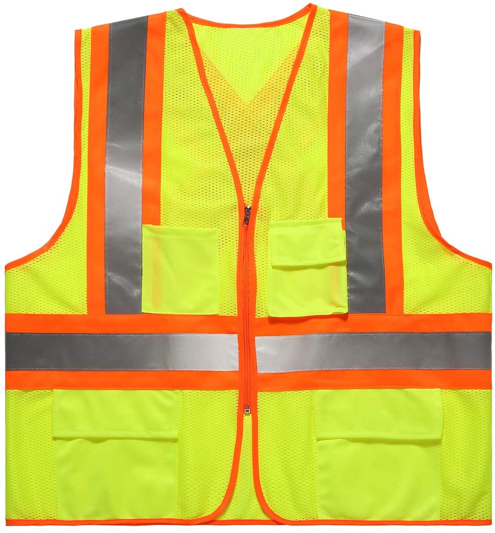 SULWZM High Visibility Reflective Safety Vest with Zipper and Pockets,Back Cross Reflective Strips,Breathable Mesh Vest Fluorescent Yellow, XL