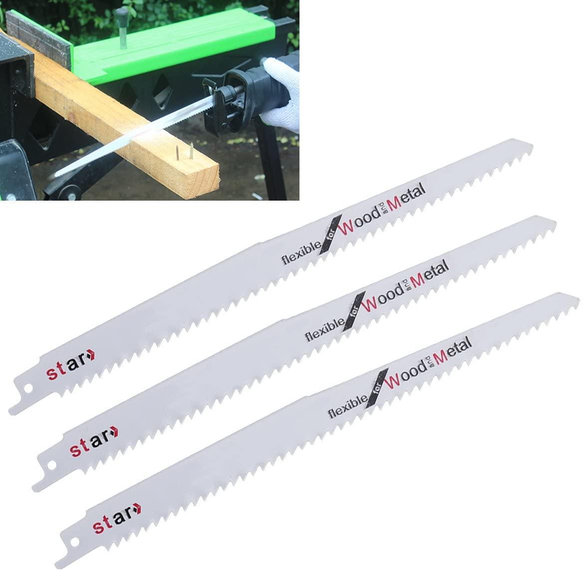 BESTOMZ 3Pcs Reciprocating Saw Blade for Density / Plastic Boards