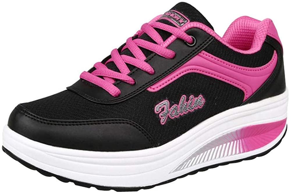 Gahrchian Women Mesh Heightening Shoes Soft Bottom Rocking Shoes Non Slip Athletic Sneakers