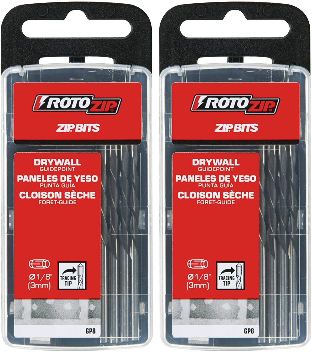 RotoZip GP8 1/8-Inch Guide Point Drywall Cutting Zip Bit, 8-Pack (Twо Pаck)