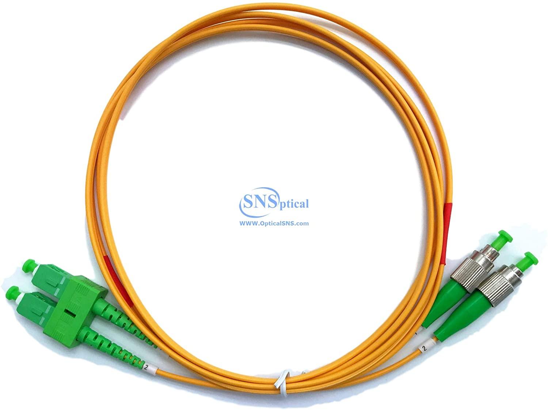 Optical SNS SC/APC to FC/APC Duplex Single Mode OS2 9/125 Patch Cord 1m(3ft)