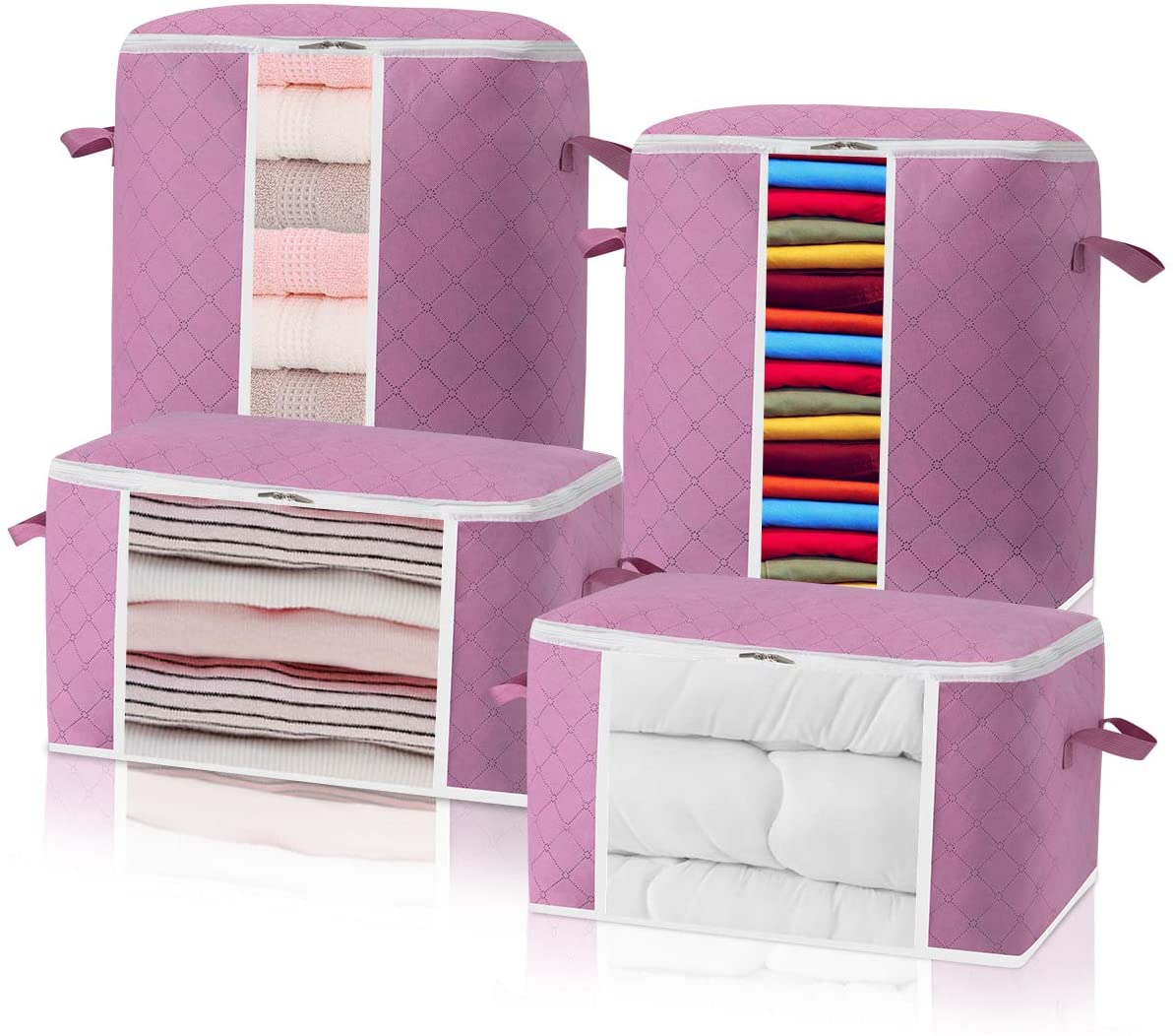 4 PACK Foldable Clothes Storage Bags Large Capacity Closet Organizer with Sturdy Handles and Zippers for Bedding,Clothes,Comforters, Blankets Clear Window (Pink)