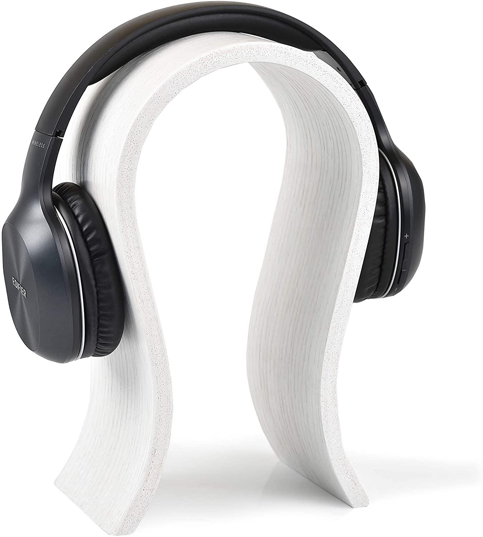 Wooden Headphone Holder for Office Desk Organisation, Minimalist Stylish Interior Detail in Natural Oak Color, Ideal Headphone Hanger Gift for Gamer, Husband, Friend (White)