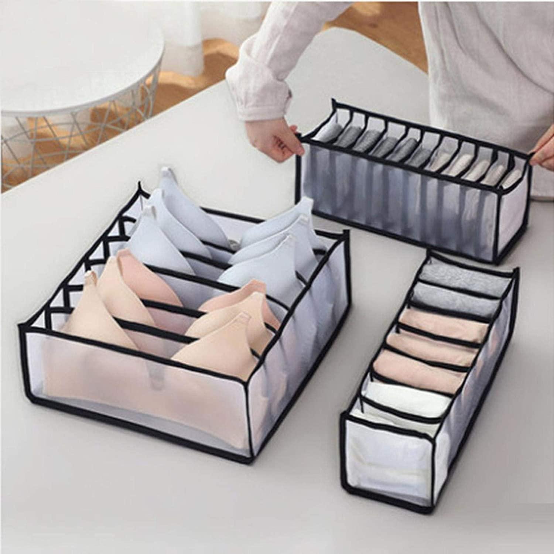 BBQQ Simple Houseware Closet Underwear Organizer Drawer Divider 3 Set Home Organizer Underwear Storage Organizer Box, Set of 3 Includes 6+7+11 Cell (Black)