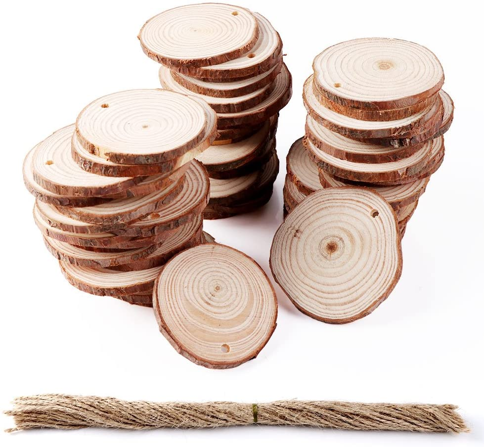 OurWarm 50pcs Natural Wood Slices, Unfinished Wood Slices Circles as Rustic Wedding Decorations Christmas Ornaments DIY Craft Supplies