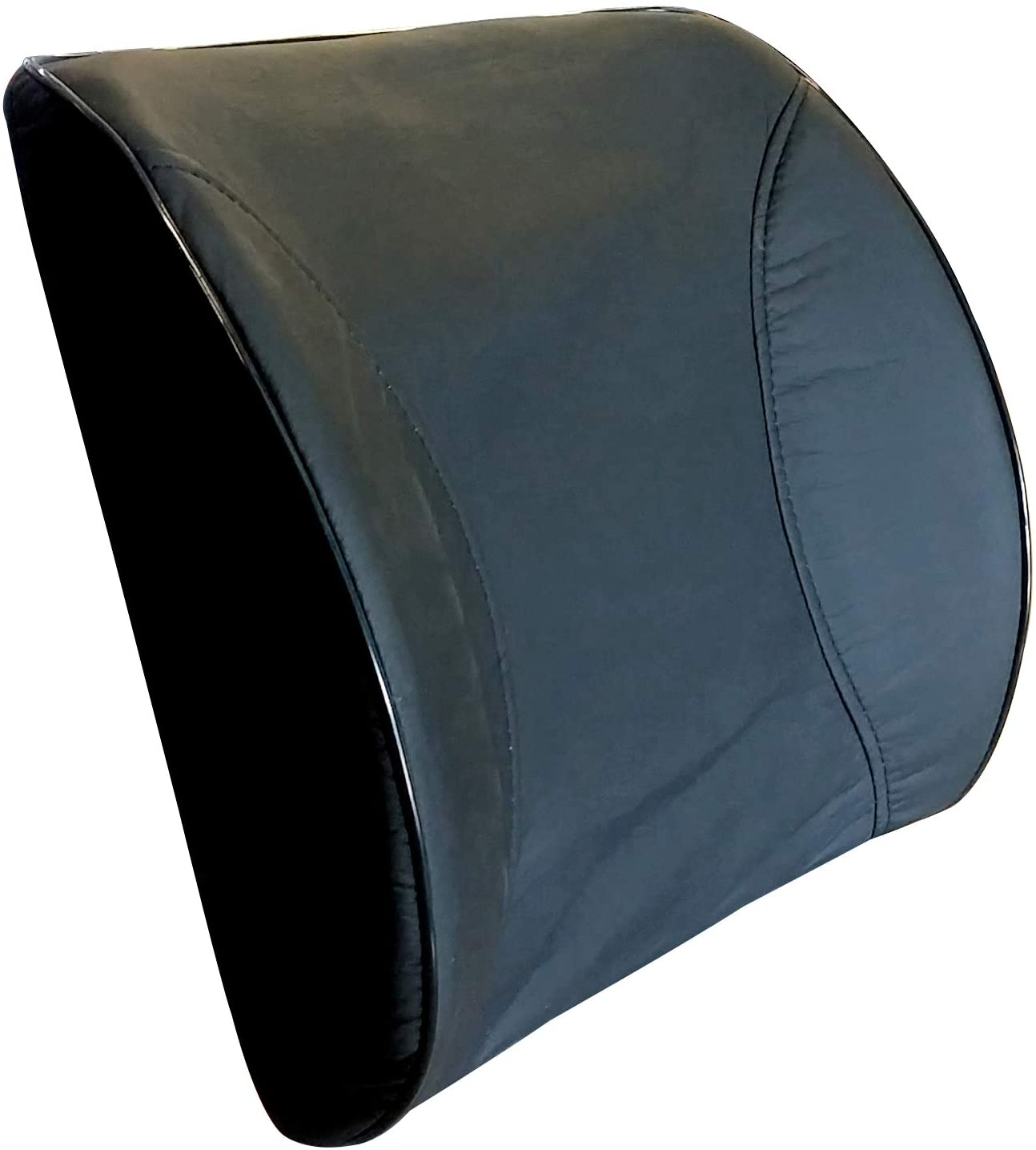ALLBrand Car Truck Office, Chair Faux Leather Lumbar Support Pillow Memory Form Back Cushion (Black)