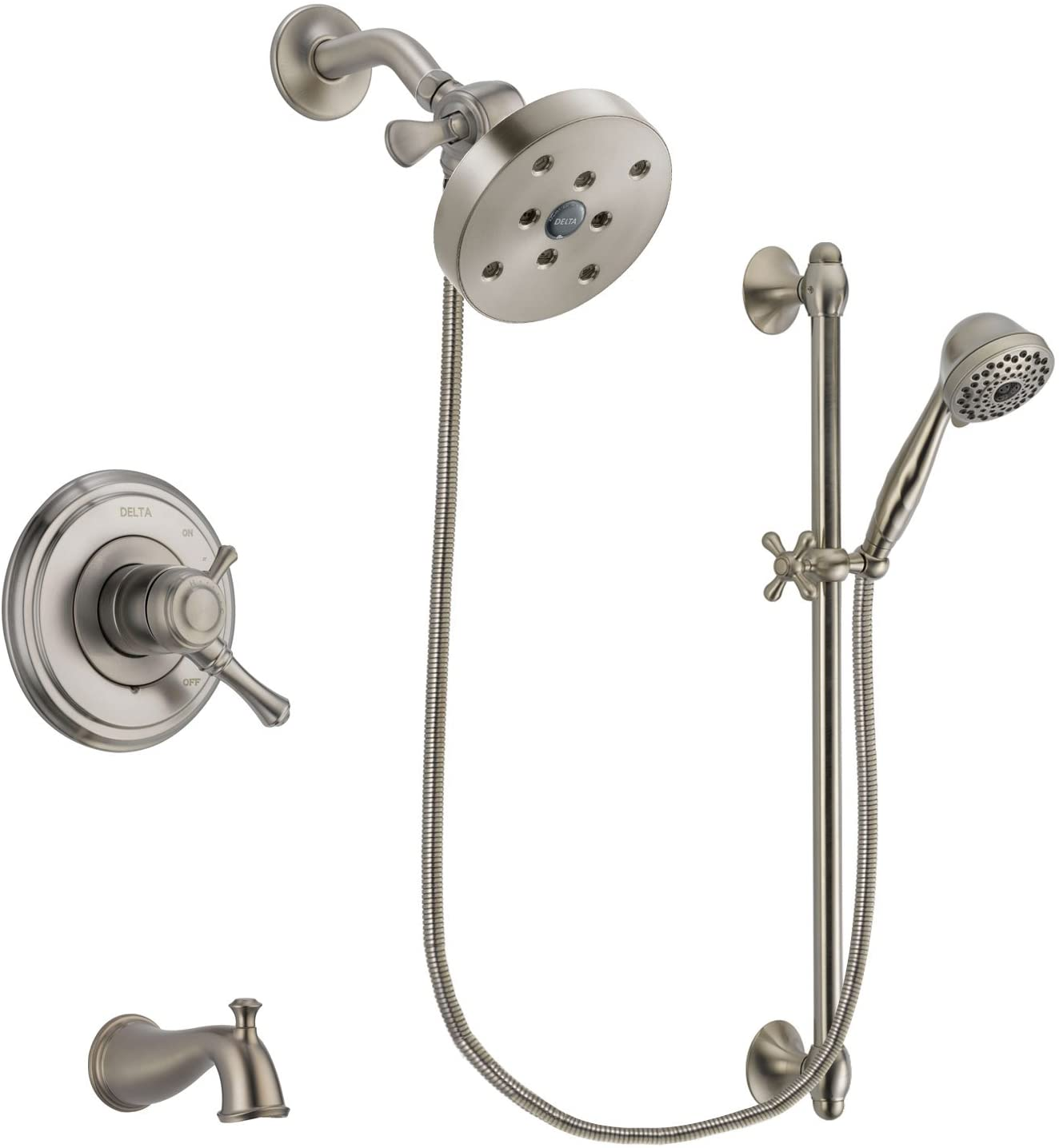 Delta Cassidy Stainless Steel Dual Control Tub and Shower Faucet System Package with 5-1/2 inch Shower Head and 7-Spray Handheld Shower with Slide Bar Includes Rough-in Valve and Tub Spout DSP1783V