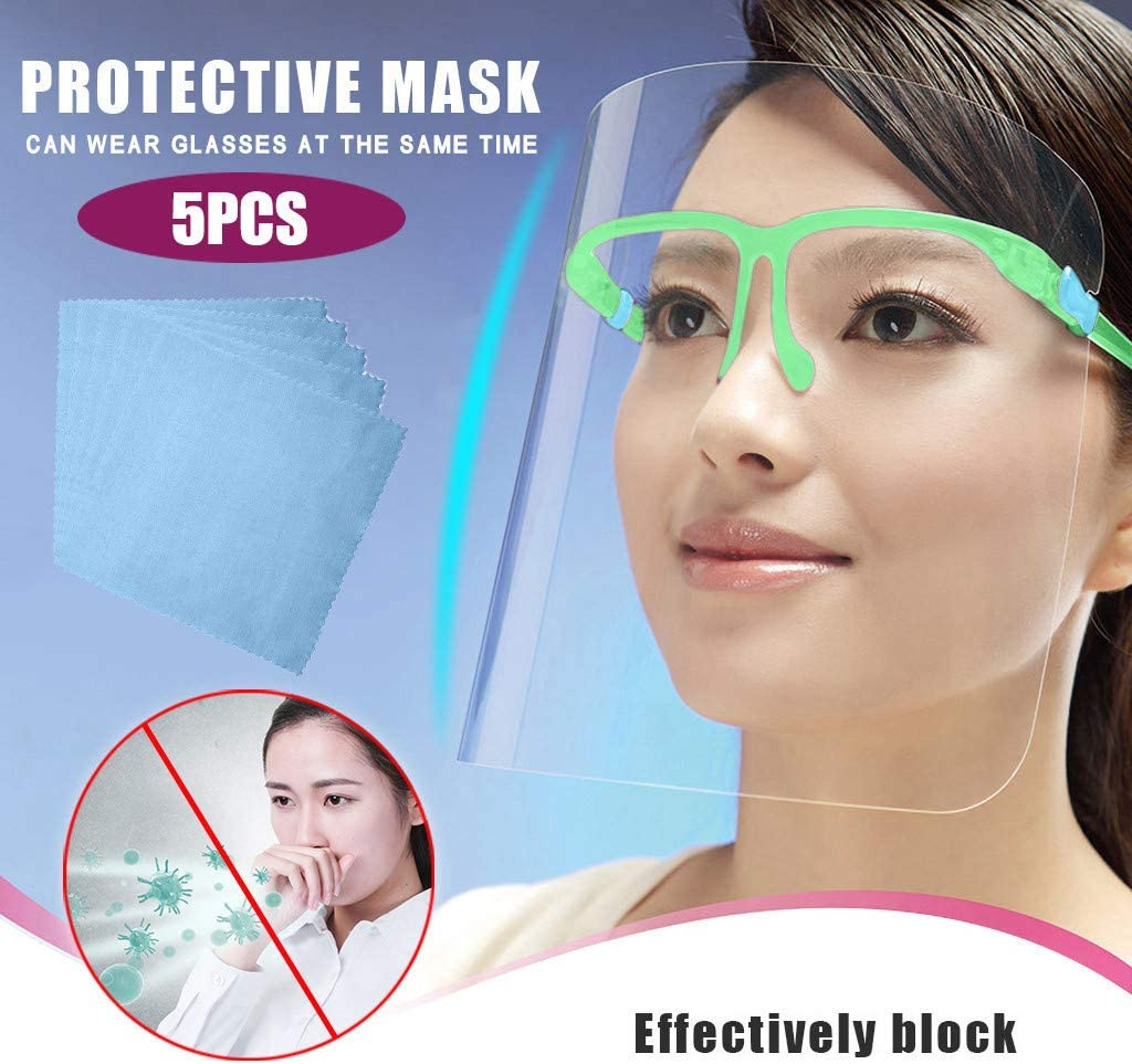 Sendke Reusable and Washable All-Round Protection Cap Glasses Style Transparent Anti-Fog Layer Anti Air Dust Face Protective and Lightweight Shield, Fashion Safety Covering for Man/Women