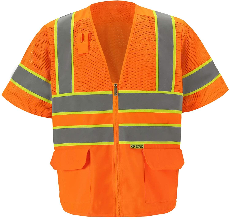 Premium High Viz Vest with Sleeves - Safety Ansi Class 3 - Hi Visibility (2XL, Orange, 1 Piece)