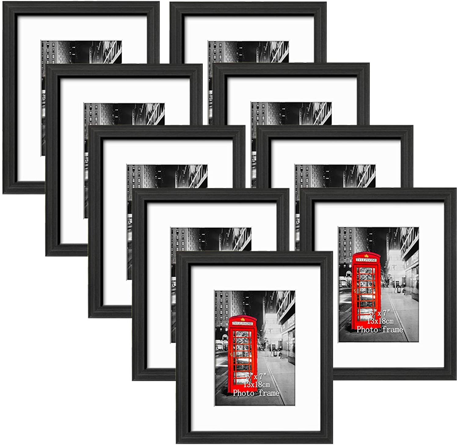 8x10 Picture Frame Set of 9, Made to Display Photos 5x7 with Mat or 8x10 Without Mat for Wall and Tabletop Black Frames