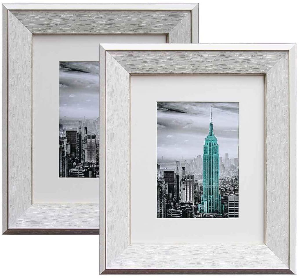 YUNDINGJI White & Silver Edge Photo Frames, 8
