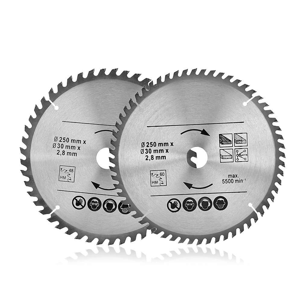 Cutting Disc - Circular Saw Blade 250mm 48T & 60T TCT Saw Disc Blade 30mm Bore