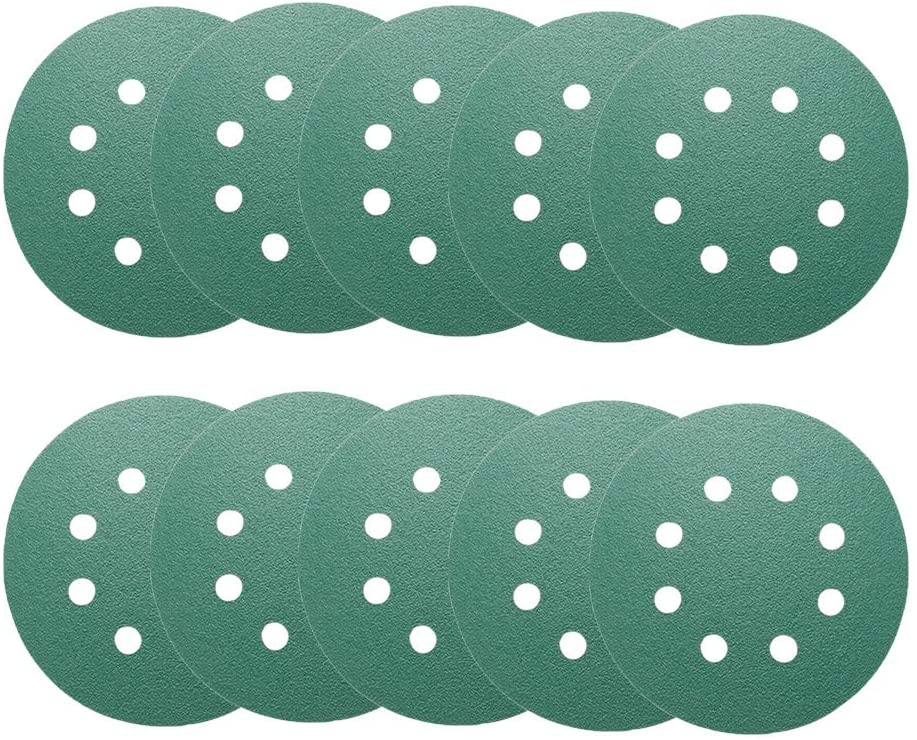 125mm/5inch 8 Hole Sanding Discs Pads Hook and Loop Sandpaper Discs 80 Grit Orbital Sander 10pcs
