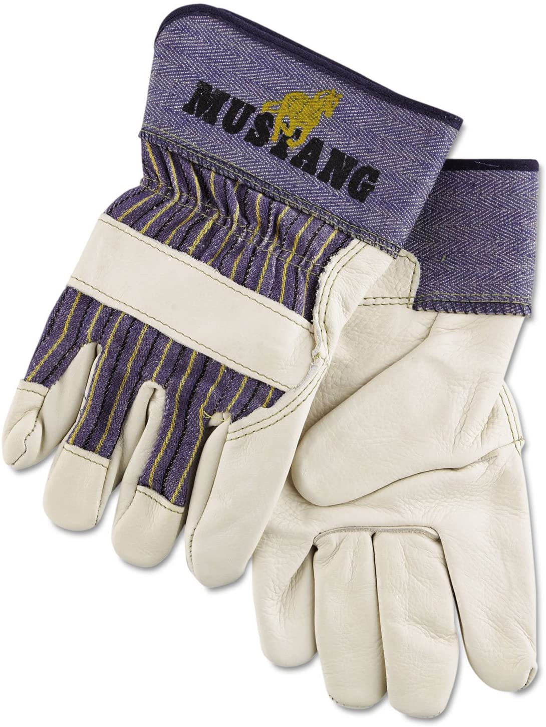 Memphis 1935XL Mustang Leather Palm Gloves, Blue/Cream, X-Large, Dozen