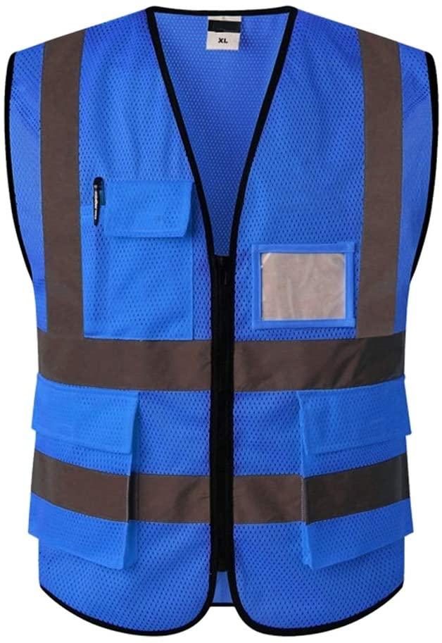 Zhuhaixmy Mesh High Visibility Reflective Safety Vest Executive Work Security Waistcoat with Phone & ID Pockets