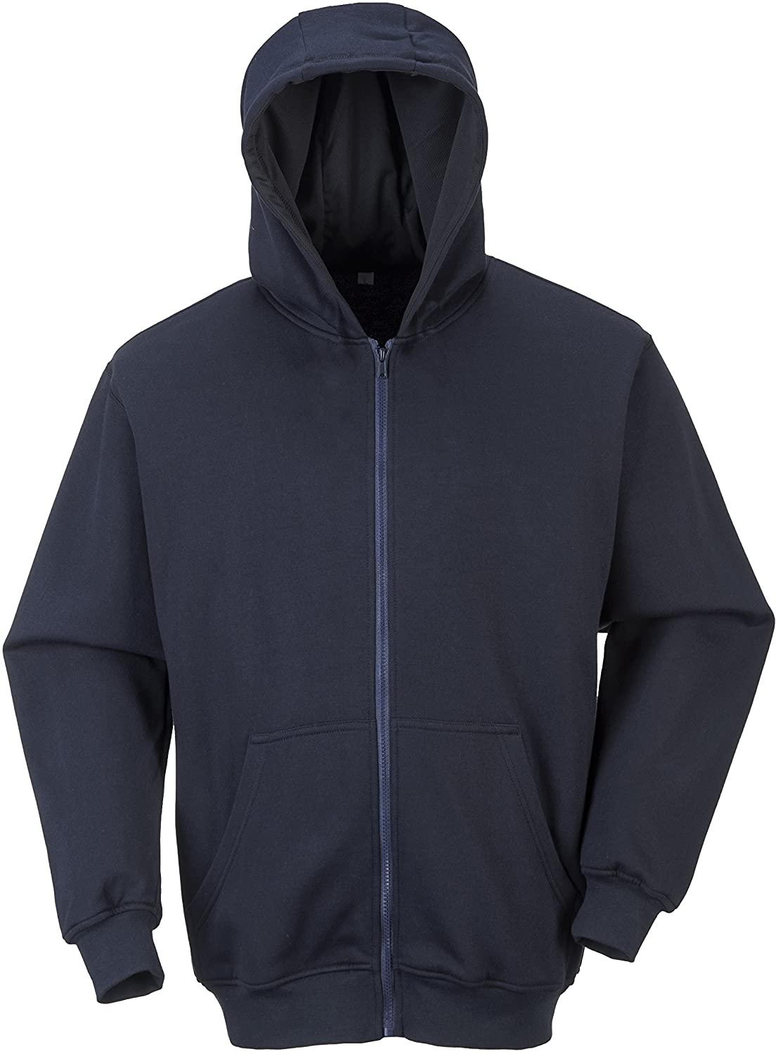 Flame Resistant Zipper Front Hooded Sweatshirt - Hoodie Clothing - Safety Jacket for Men (6XL, Navy, 1 Piece)