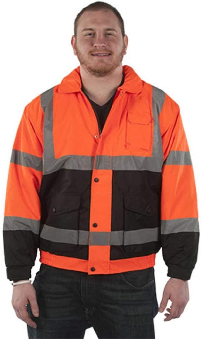 Brite Safety Quilt Lined Bomber Jacket - High Visibility ANSI Class 33 Safety Jackets with Hidden Hood (Orange)