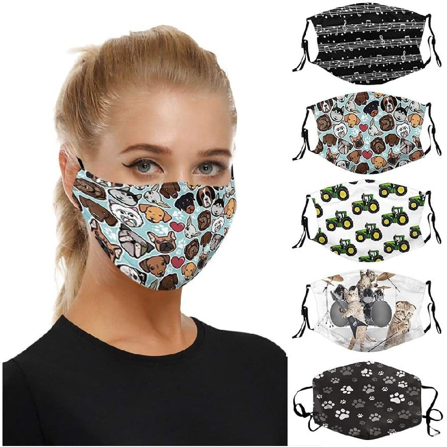 AutumnFall 𝐌𝐀𝐒𝐊 Cycling Face Šhīəlds, Unisex Reusable Face Bandanas, Reusable Knitted Scarf Facials, Breathable Sports Cool Face Mouth Protection, Facial Bib Back to School Supplies 5PC (D)