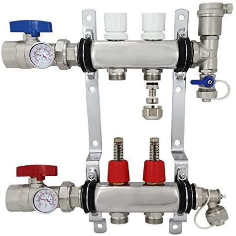 2 Port Stainless Steel PEX Heating Manifold w/PEX adapters