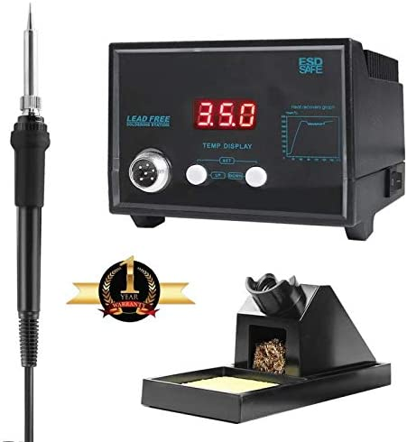 Digital Soldering Iron Station With Soldering Stand, Tip Cleaning Wire Sponge And Replacement Tips, Black
