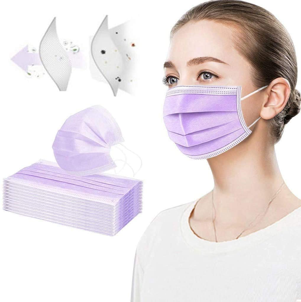 Fashion Face Маsκ Disposable 3-layers Protective Earloop Face Bandanas For Adult, Non-woven Fabric Breathable And Anti-haze Dust (50 PCS, Purple)