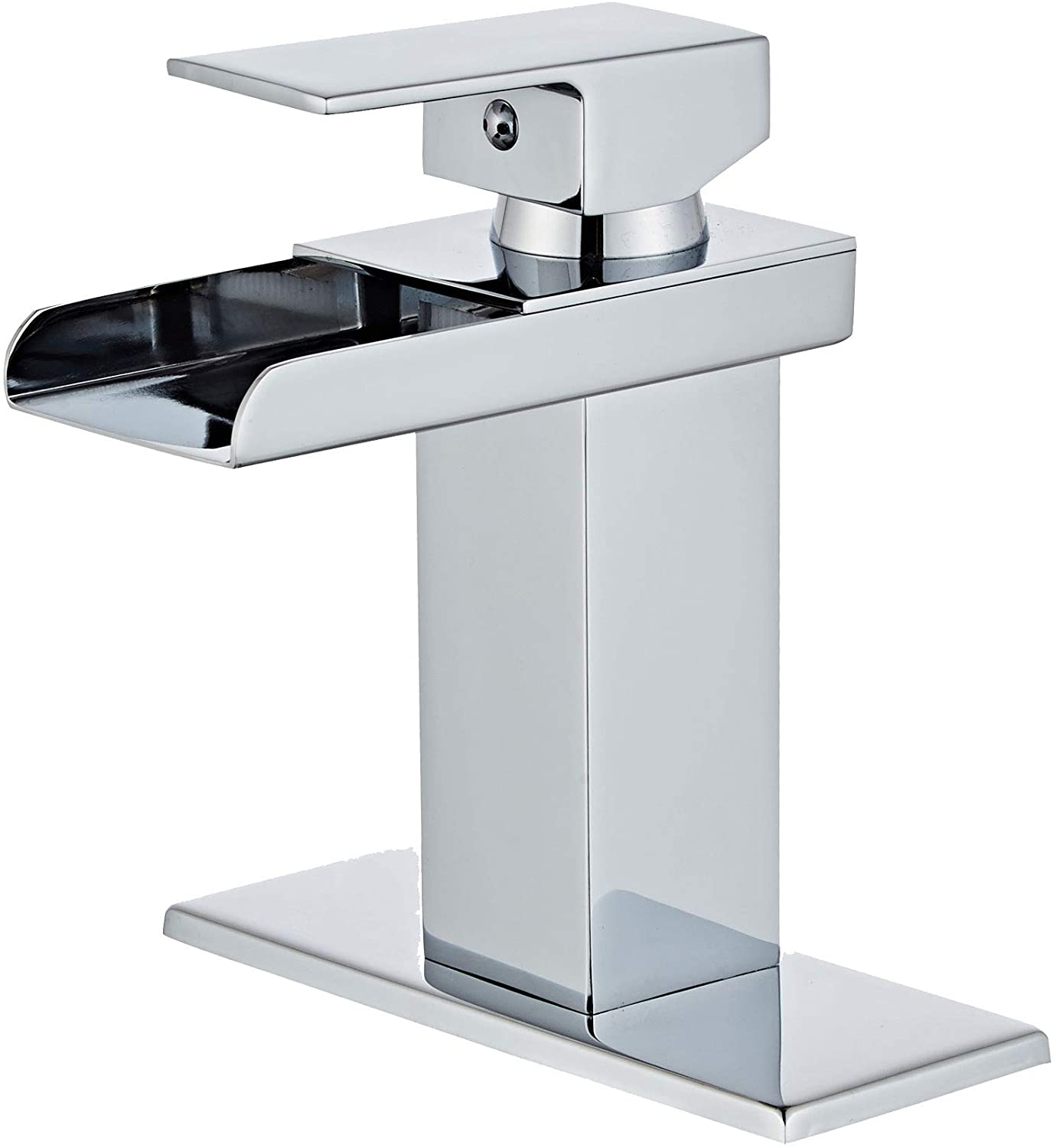 Wovier Chrome Waterfall Bathroom Sink Faucet with Supply Hose and Plate,Single Handle Single Hole Lavatory Faucet,Basin Mixer Tap Commercial
