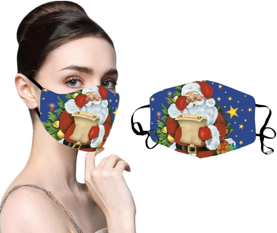 EvaFAST MMasks, Christmas Print Anti-Dust Reusable Face Bandanas, Outdoor Safety Breathable & Wasable Facial Mouth Covering with Adjustable Ear Strap (I)
