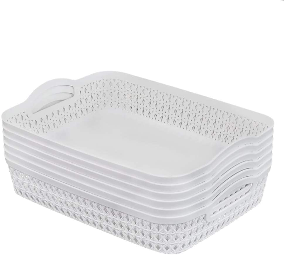 CadineUS Storage Bins Basket Set of 6, Plastic White Basket with Handle (Large)