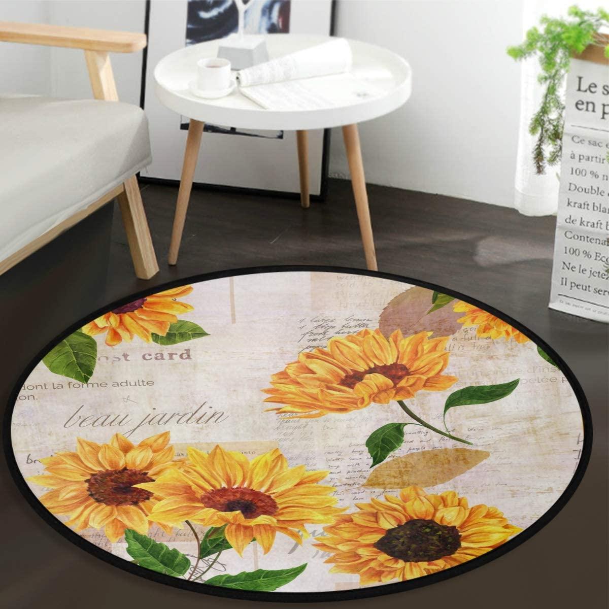 Vdsrup Yellow Sunflowers Floor Mat Autumn Sunflower Poppy Doormat Round Washable Non-Slip Indoor Carpet for Living Room Dining Bedroom Home 36