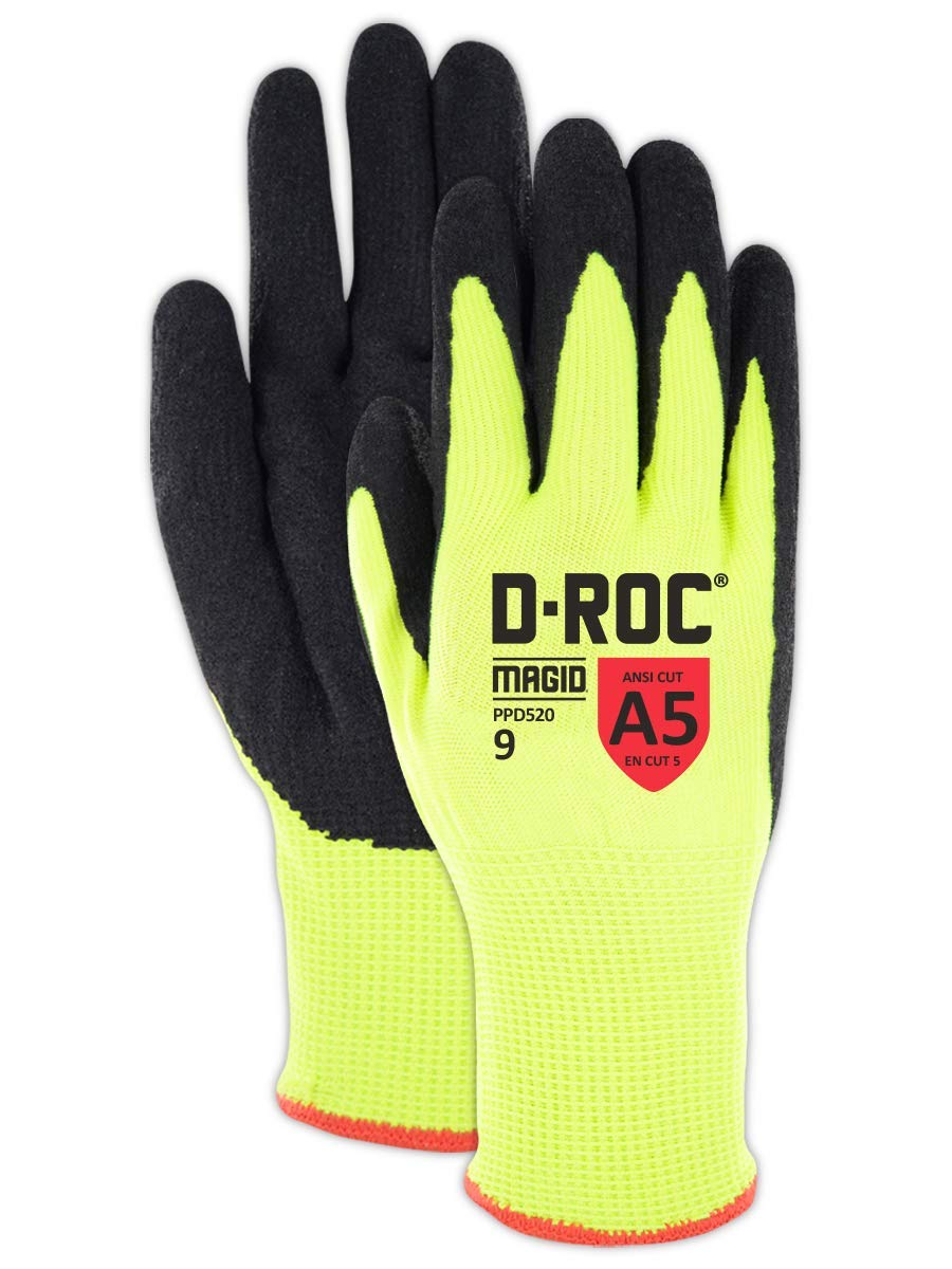 MAGID PPD5206 PPD520 High-Visibility Nitrix Coated Padded Palm Work Glove