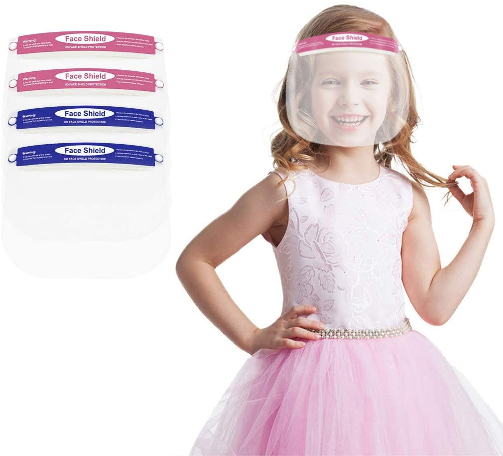1/5/10/15/20 pcs Kids Shields Oral Protection with Clear Visor Kids Reusable Face Bandanas for Eye and for School Outdoor Activity Oral Protective Child Anti-Fog Covering for Boys Girls (A2-4pcs)
