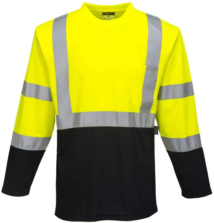 Brite Safety High Visibility Long Sleeves Shirts - Reflective Shirt for Men and Women Hi Vis Work Clothes (Yellow/Black,6XL)