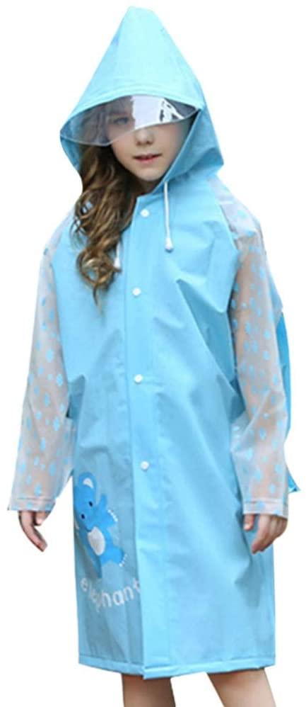 IMIKEYA Children Rain Poncho Waterproof Kids Rain Coat with Hood Rain Brim Hat Backpack Cover Rainwear Anti Saliva Anti-Spit Anti Splash Safety Coveralls for Outdoor Travel Size L