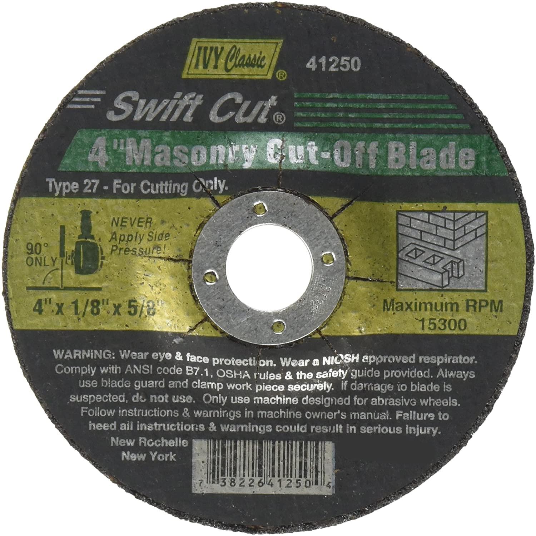 IVY Classic 41250 Swift Cut 4-Inch x 1/8-Inch x 5/8-Inch Arbor, Masonry Depressed Center Wheel for Grinders, 1-Piece