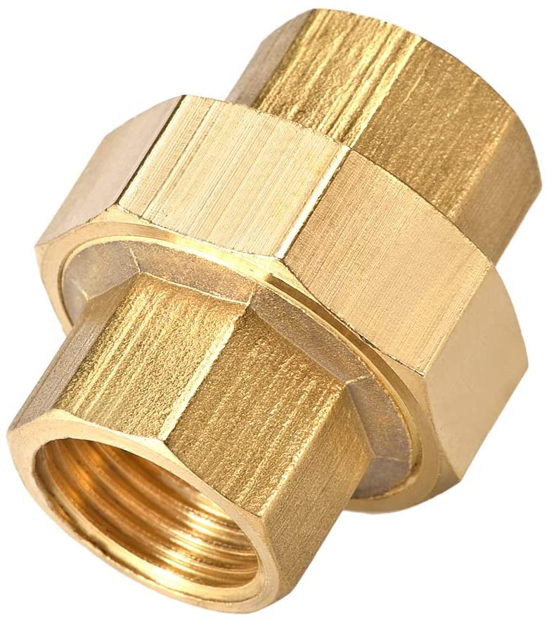 uxcell Brass Pipe Union Connector Coupling 1/2 PT Fitting with Female Threaded Connects Two Pipes 38mm Length